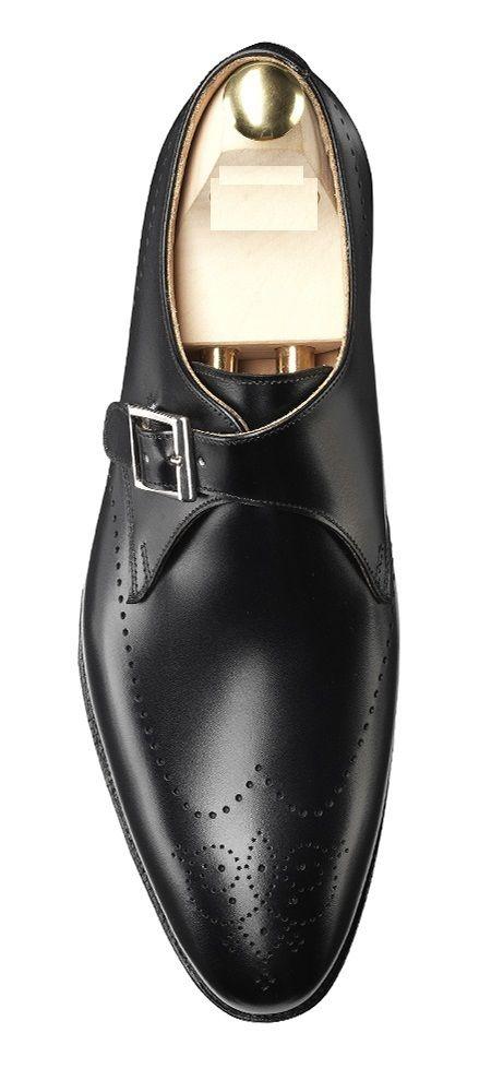 Men leather shoes Handmade Mens Black formal monk Shoes Men Black dress shoes