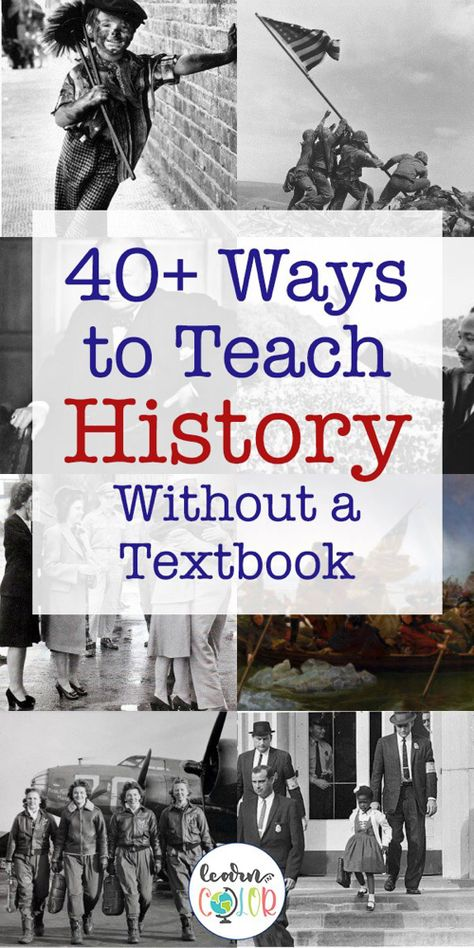 Creative ideas for Teaching History without a textbook - - History is my passion; I love history! Here are ways to teach history without a textbook, from books to cooking, and more! World History Facts, Ancient World History, World History Lessons, History Quotes, History Books, Art History, World History Projects, History Websites, History Online