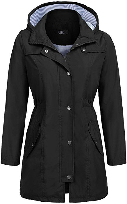 Amazon Com Soteer Long Rain Jacket Women S Packable Waterproof Breathable Rain Coat Black M C Waterproof Jacket Women Hooded Raincoat Hooded Rain Jacket