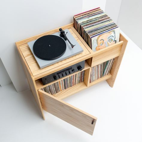 Turntable Stand from Symbol Audio - The Unison Record Stand is the perfect entertainment setup for a turntable, amplifier, and record c - Record Player Table, Record Player Cabinet, Record Shelf, Vinyl Record Player, Vinyl Record Stand, Record Players, Lp Player, Record Table, Record Player Furniture
