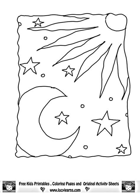 God Created The Sun Moon And Stars Coloring Page