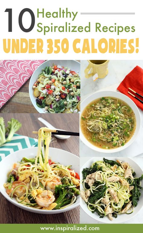 10 Healthy Spiralized Recipes Under 350 Calories #lowcarb #veggielove