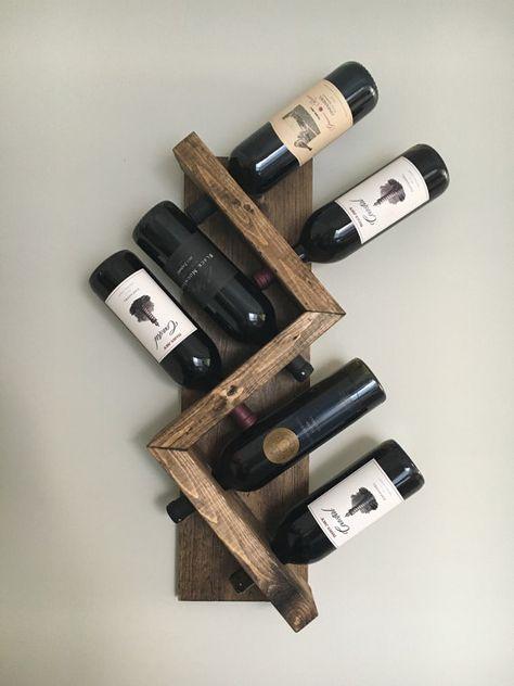 Zig Zag Wine Rack, Z Geometric Rustic Wood Wall Mounted Wine Bottle Display Chunky Primitive