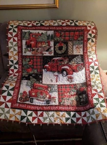 A Pair of Red Large Cotton panelled quilting set Christmas stocking panels