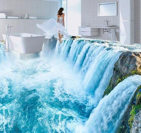 Wish | 3D Amazing White Waterfall Floor Mural Photo Flooring Wallpaper Print Home Decal