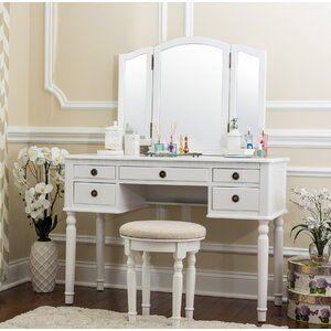Cormier Corner Makeup Vanity With Mirror Bedroom Vanity Vanity Set Vanity Set With Mirror