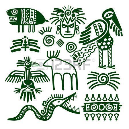 Simbolos De Los Logos Etnicos De Maya De America Del Sur Dibujos Indios Logotipo De Mexico Aztecas Dibujos Dibujo Indio Patrones Tribales