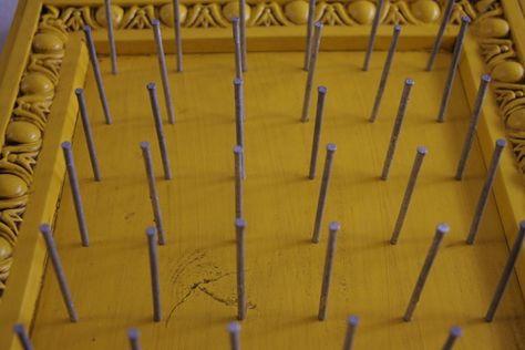 DIY thread holder/ wood, trim or frame, nails. Instant thread organizer