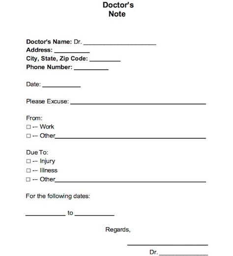Doctors Excuse For Work Template  By Admin Filed In Uncategorized