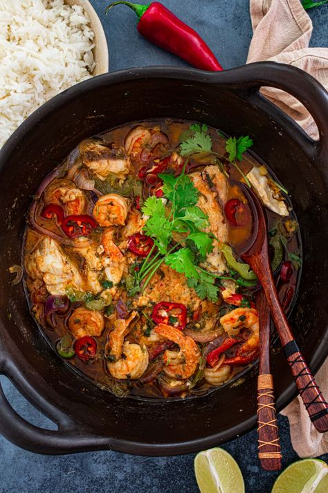 Moqueca Baiana (Brazilian Fish and Shrimp Stew)   www.oliviascuisine.com   If you're a fan of Brazilian cuisine, you simply must make Moqueca Baiana. Bold, flavorful and exotic, this fish and shrimp stew is one of Brazil's most famous dishes and is always a hit! #moqueca #brazilianfood #fishstew #seafoodstew #healthy