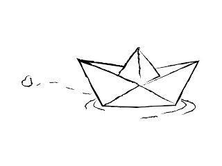 Bateau en papier avec un ♡ - #avec #Bateau #en #kawaii #Papier