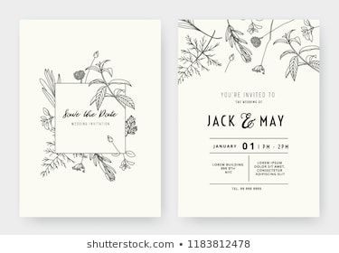 Botanical Wedding Invitation Card Template Design Stock Vector Roya Drawing Wedding Invitation Minimalist Wedding Invitations Wedding Invitation Card Template