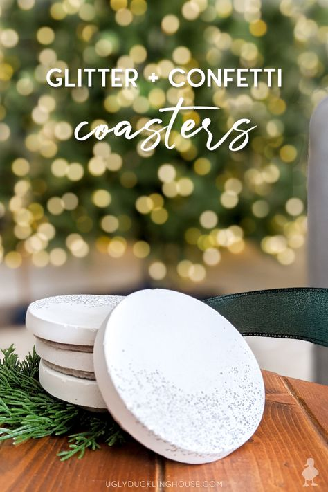 glitter white concrete coasters for my coffee table or hostess gift #whiteconcrete #diycoasters #glitter #confetti #newyears #partydecoration #hostessgift #neighborgift