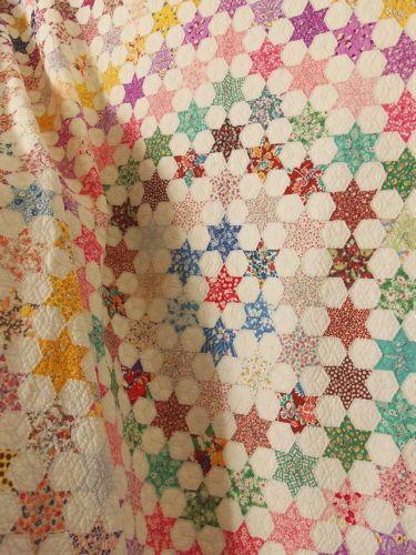 Vintage Feedsack Quilt AMAZING Star HEXAGON Handmade Cotton Novelty Prnt