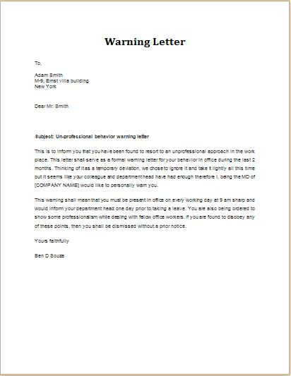 Unprofessional behavior warning letter DOWNLOAD at http\/\/www - eviction warning letter