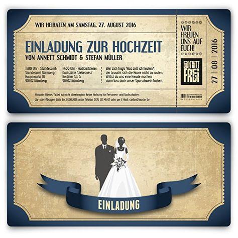 Einladungskarten zur Hochzeit als Eintrittskarte im Vintage-Look Hochzeitskarten