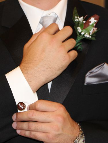 Love the Football Themed Boutonniere and Cufflink combination for groomsmen!  Order yours from SportsThemedWeddings.com today!  #footballwedding  #stwdotcom
