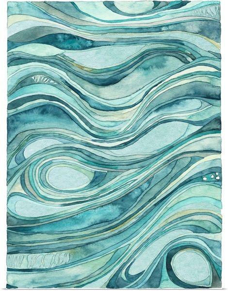 Aqua waves Solid-Faced Canvas Print
