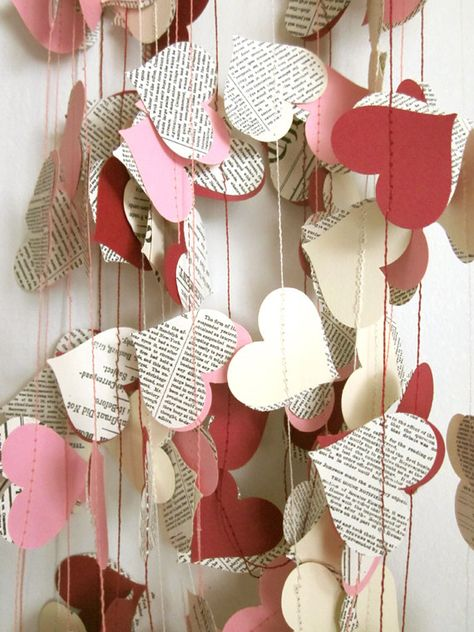 Items similar to Book Paper Garland - Cream Hearts Garland - Wedding Garland - Upcycled Paper Hearts - Valentine's Day on Etsy Diy Valentine's Day Decorations, Valentines Day Decorations, Valentine Day Crafts, Be My Valentine, Holiday Crafts, Saint Valentine, Valentine Wreath, Birthday Decorations, Book Crafts
