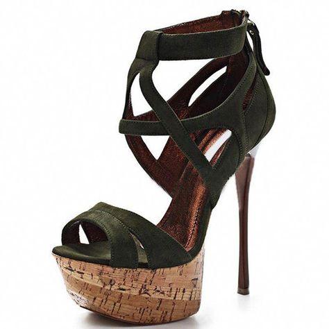 Black Pinned Strap High Heel Platform Ankle Shoes