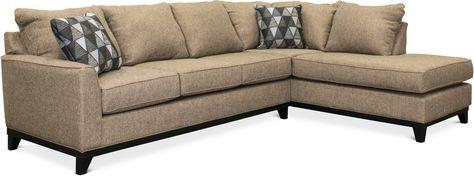 Tweed Brown 2 Piece Sectional Sofa