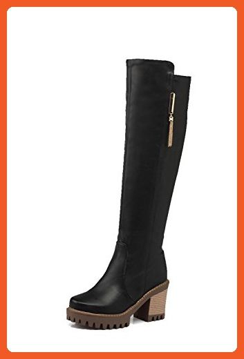 VogueZone009 Womens Closed Round Toe High Heels Cow Leather Solid Boots with Charms