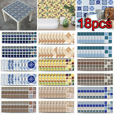 18pcs Diy Mosaic 3d Self Adhesive Wall Tile Sticker Bathroom
