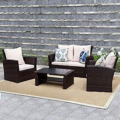 Wisteria Lane Outdoor Patio Furniture Set 5 Piece Garden Rattan