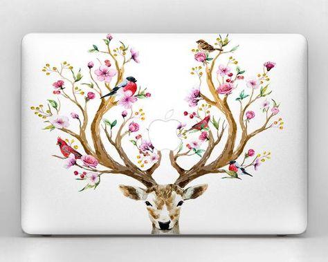 deer stickers macbook pro floral flower macbook skin MacBook pro 15 skin 13 inch laptop cover MacBoo