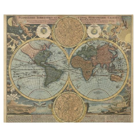 'Planiglobii Terrestris' vintage map of the ancient world. Beautiful artistic details include; decorative vignettes of angelic cherubs and landscapes, celestial hemispheres and planispheres depicting the constellations, and Latin writings. A lovely sample of vintage cartography for any lover of maps or travel.