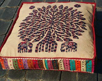 Items Similar To Gorgeous Madhubani Pillows Krishna Cotton And Colorful Handpainted On Etsy Boho Floor Boho Floor Pillows Large Floor Cushions