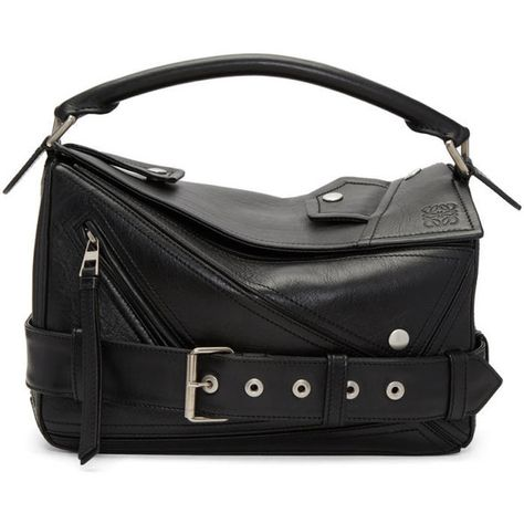 Loewe Black Small Biker Puzzle Bag (€2.630) ❤ liked on Polyvore featuring bags, handbags, shoulder bags, black, zip shoulder bag, studded shoulder bag, zipper purse, biker purses and studded duffle bag