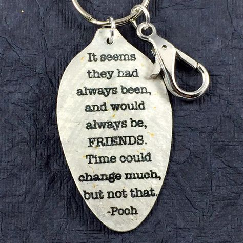 Winnie the Pooh Quote Keychain made from a Vintage Silver Plate Teaspoon, Silverware Jewelry, Unique Art Pendant, Keyfob, Winnie the Pooh by kyleemaedesigns on Etsy