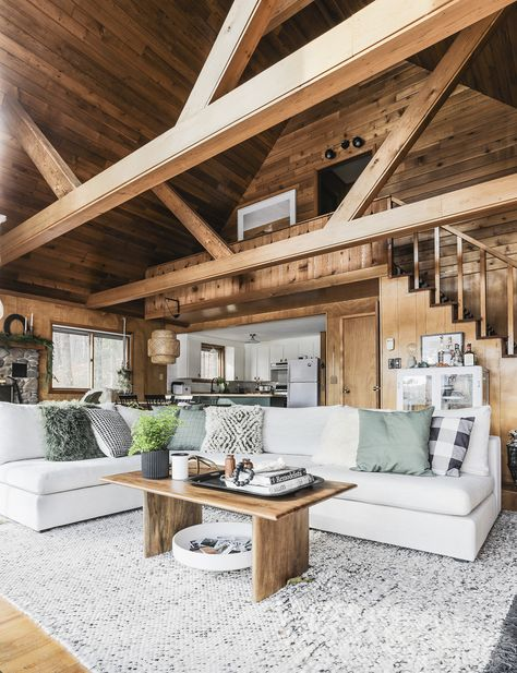 The Gaba modular sofa from Article took cabin cozy to the next level Log Cabin Living, Log Cabin Homes, Log Cabin Kitchens, Cabin Style Homes, A Frame Cabin, A Frame House, Modern Cabin Interior, Modern Cabin Decor, Cabin Interior Design