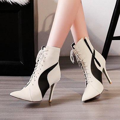 Mode Damen Winter Bannfarbe Schnürung Boots Spitze