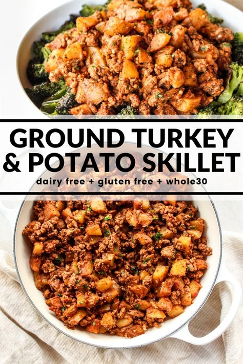Ground Turkey & Potato Skillet Wondering what to make for dinner? Quickly throw together this hearty one pot meal of turkey and potatoes! Serve over roasted veggies, traditional rice, or cauliflower rice for a healthy and satisfying dinner. Ground Turkey Dinners, Ground Turkey Meat Recipes, Recipe With Ground Turkey And Potatoes, Healthy Ground Turkey Dinner, Healthy Dinner Meals, Ground Turkey Seasoning, Dinner Recipes, Healthy Turkey Recipes, Chicken Recipes