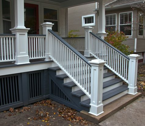 """I presented my client with measured drawings of some different options for the newel posts. Her only request was that """"the tops be flat so that she could place her glass of wine there while s…"""