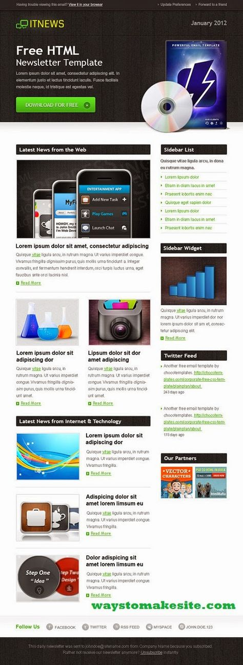 20 Free HTML Newsletter Templates Useful links for graphics - holiday newsletter template