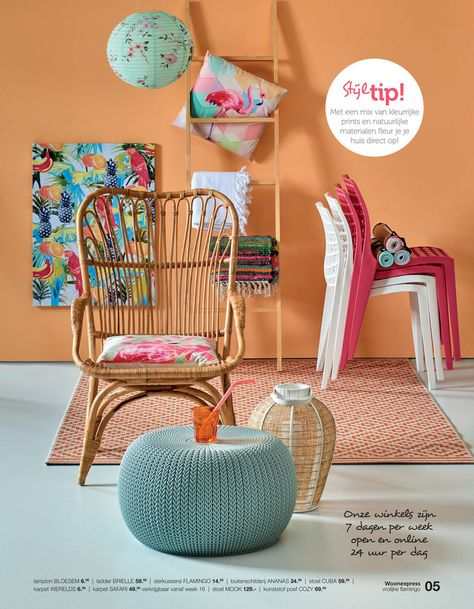 Vrolijke flamingo Neem een kleurrijke kamer, wat vrolijke, exotische prints en voeg daar een snufje lef en oerinstinct aan toe. Het resultaat? Een tropisch