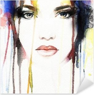 Watercolor Face Bathroom Glamour Stickers People Pixers