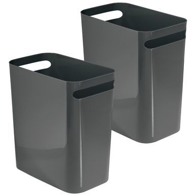 Small Plastic Slim Trash Can 12 High Pack Of 2 Kitchen Trash