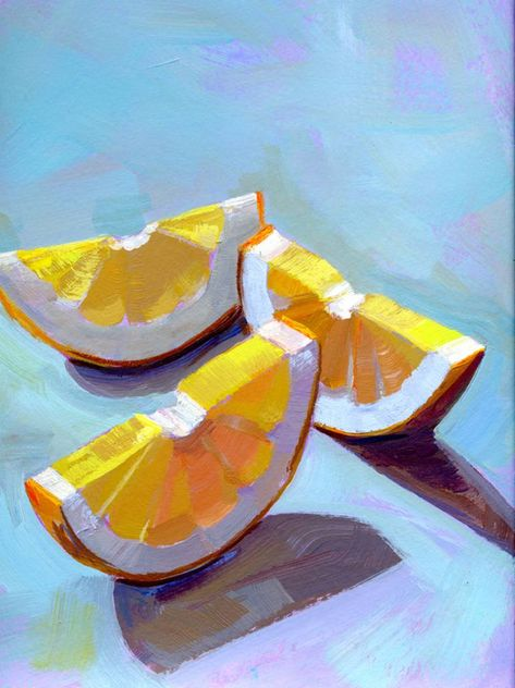 Original Food Painting by Sue Barrasi Fine Art Art on Other Kissed by the Sun Food Art Painting, Sun Painting, Fruit Painting, Lemon Painting, Fine Art Paintings, Paintings Of Fruit, Painting Styles, Horse Paintings, Knife Painting