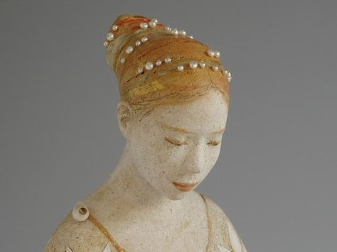 Detail of Untitled ceramic sculptures of two women by Margaret Wozniak (Margaret Wozniak Ceramics)