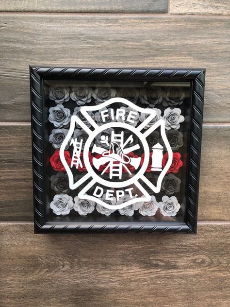Rolled Paper Flowers, Paper Roses, Fire Dept, Fire Department, Thin Red Line Flag, Flower Shadow Box, Firefighter Decor, Craft Day, Shadow Box Frames