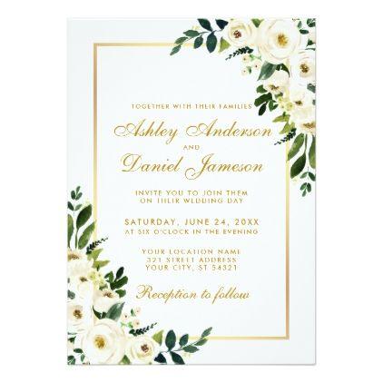 Watercolor Fl Green White Gold Wedding G Invitation