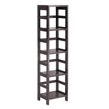 Leo Storage Open Shelf 5 Tier 4 Section Tall Espresso Brown