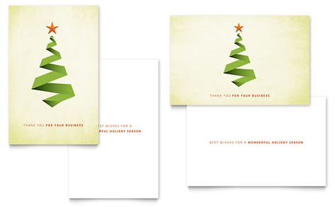 Ribbon Tree Greeting Card Template by @StockLayouts Holiday - christmas card word template