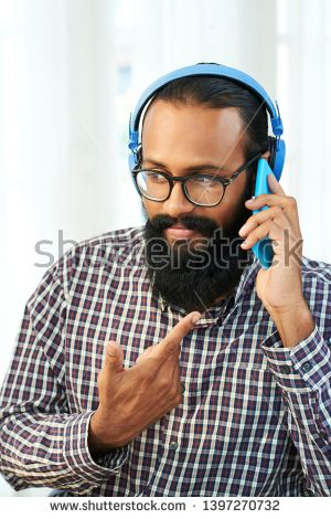 Man With A Mustache And Headset Men/'s Tee Image by Shutterstock