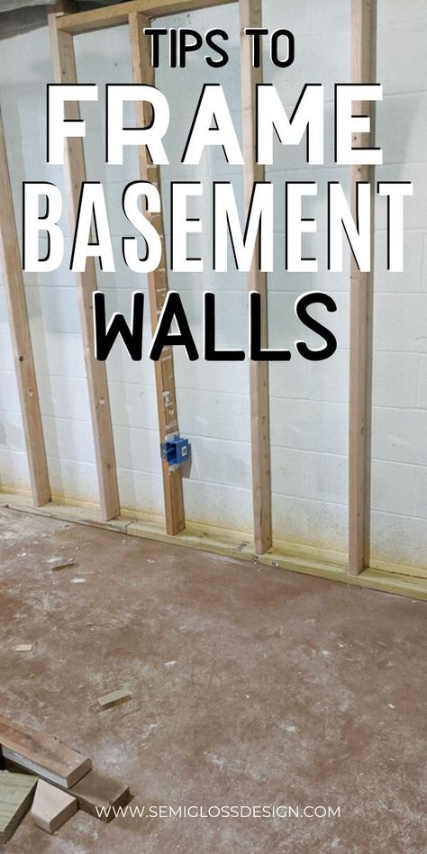 Learn these tips for framing basement walls. Building a room in an unfinished basement is much easier than you think! Get that basement renovation started with these easy tips. Basement Remodel Diy, Basement Makeover, Basement Renovations, Home Remodeling, Camper Remodeling, Basement Bedrooms, Basement Bathroom, Bathroom Ideas, Basement Laundry