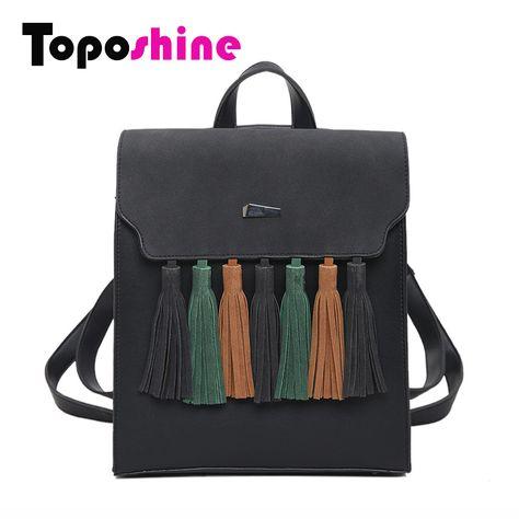 59755b902f58 Toposhine моды кисточкой хит цвет квадратные девушки рюкзак скраб  искусственная кожа женщины рюкзак мода школьные сумки 1617 купить на  AliExpress